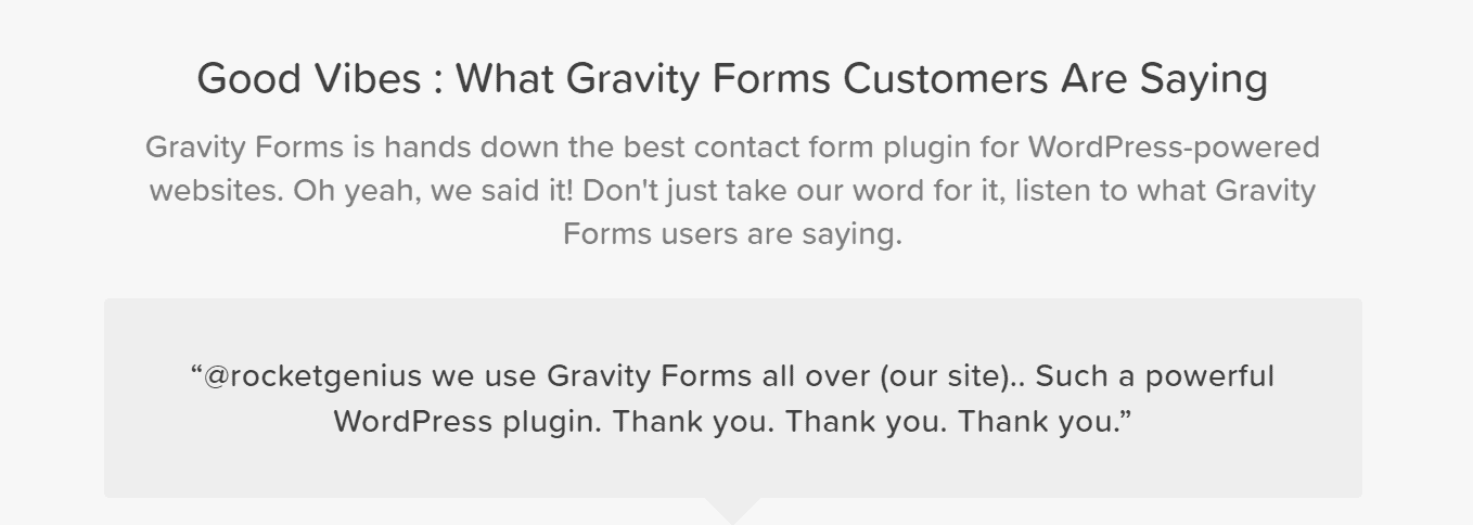 Gravity Forms happy customer