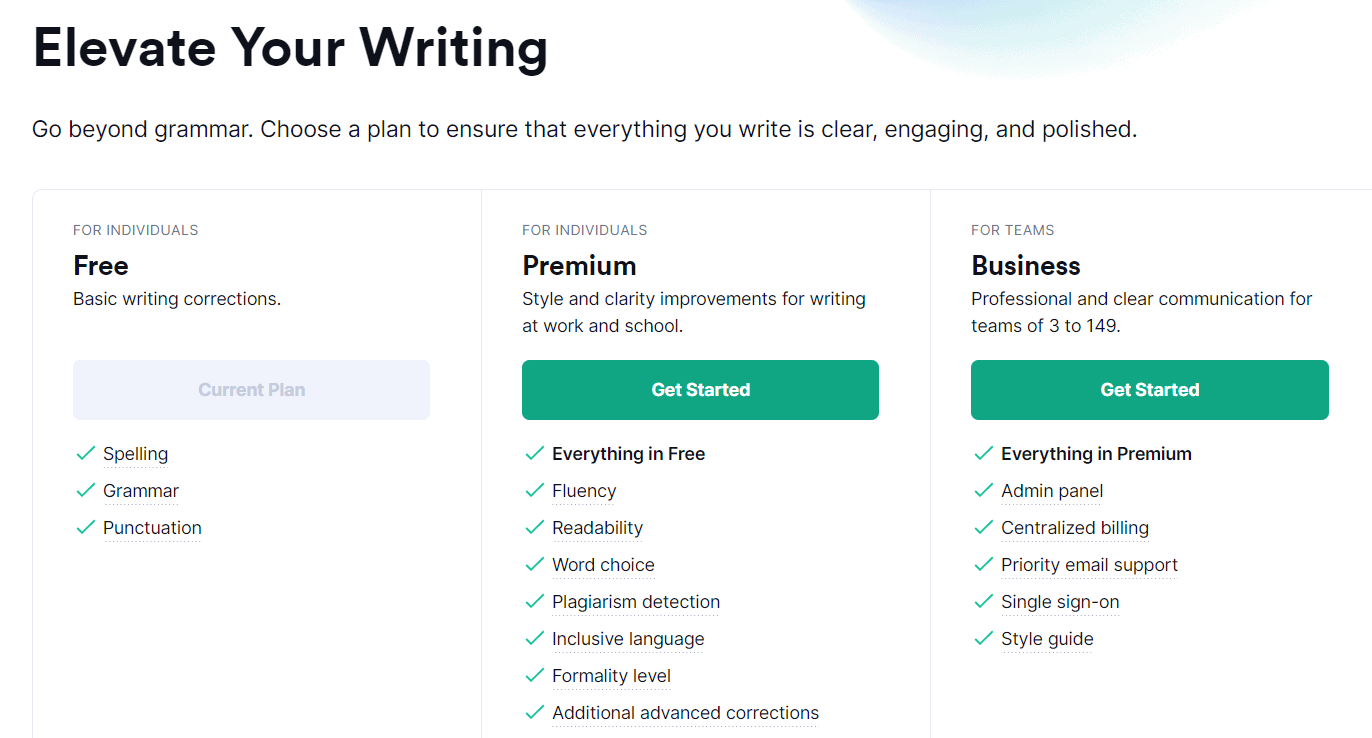 Pricing plans at Grammarly Black Friday Deals