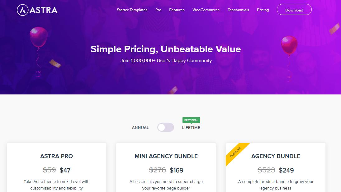 astra wordpress theme price