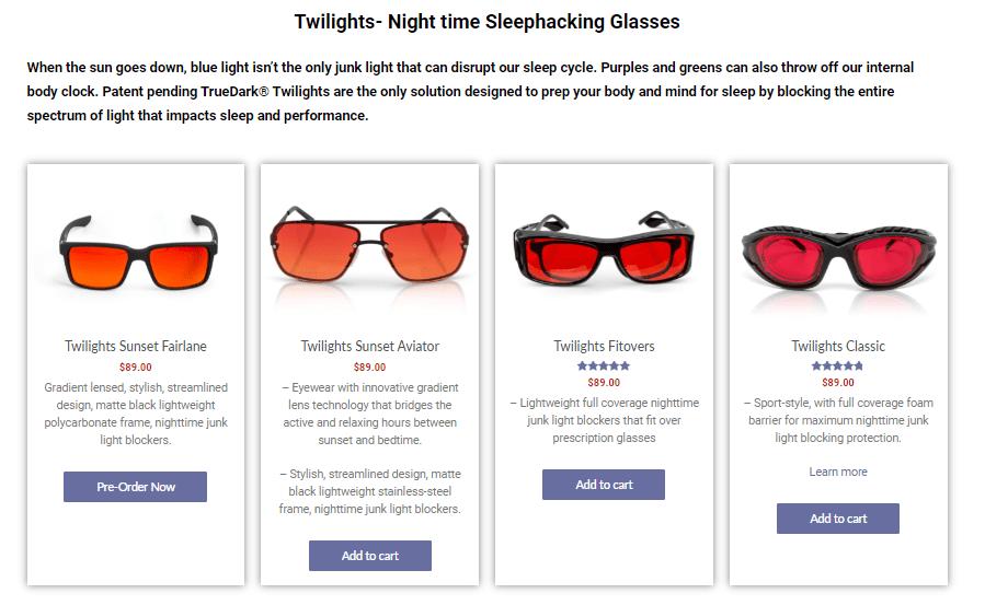TrueDark Glasses Pricing