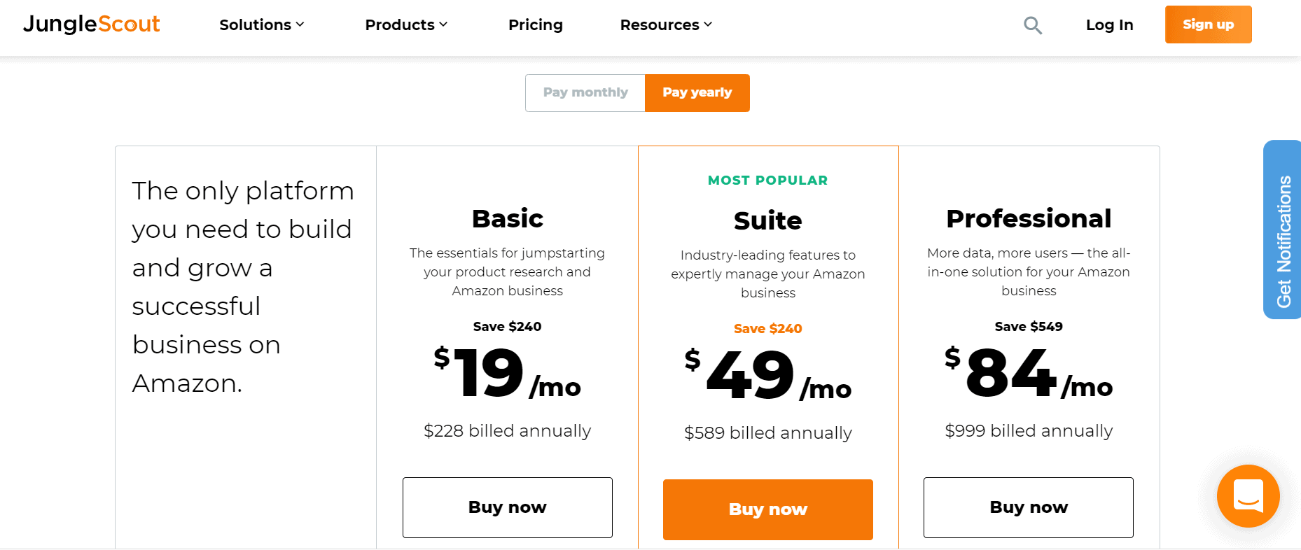 junglescout black friday pricing plans