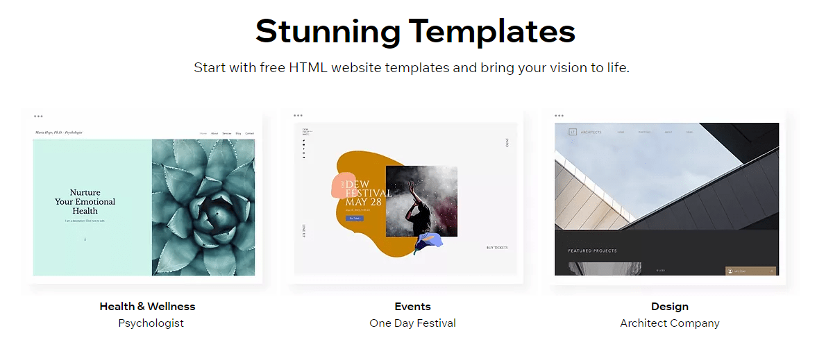 wix black friday - free HTML website templates