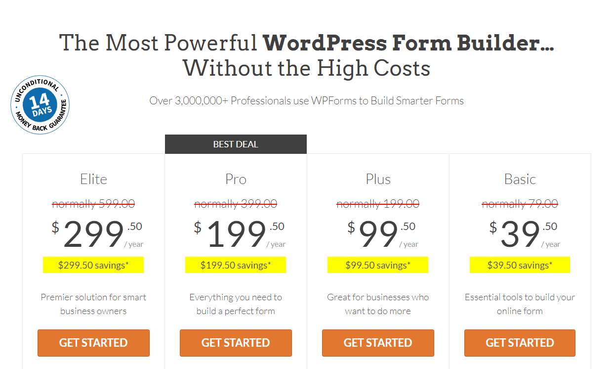 WPForms Pricing Plans